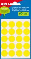 APLI Etikett, 19 mm kör, kézzel írható, színes, APLI, sárga, 100 etikett/csomag