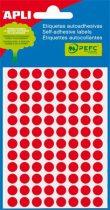 APLI Etikett, 8 mm kör, kézzel írható, színes, APLI, neon piros, 288 etikett/csomag