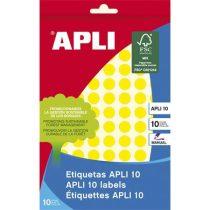 APLI Etikett, 10 mm kör, kézzel írható, színes, APLI, sárga, 1008 etikett/csomag