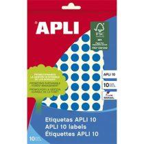 APLI Etikett, 10 mm kör, kézzel írható, színes, APLI, kék, 1008 etikett/csomag