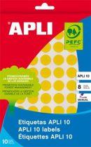 APLI Etikett, 16 mm kör, kézzel írható, színes, APLI, sárga, 432 etikett/csomag