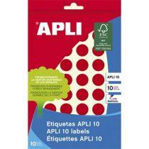 APLI Etikett, 16 mm kör, kézzel írható, színes, APLI, piros, 432 etikett/csomag