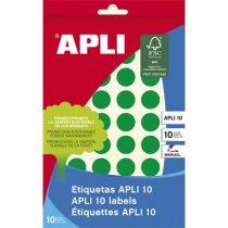 APLI Etikett, 16 mm kör, kézzel írható, színes, APLI, zöld, 432 etikett/csomag