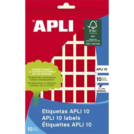 APLI Etikett, 12x18 mm, kézzel írható, színes, kerekített sarkú, APLI, piros, 448 etikett/csomag