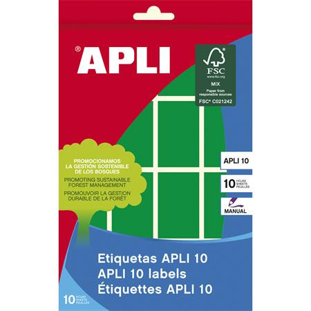 APLI Etikett, 25x40 mm, kézzel írható, színes, kerekített sarkú, APLI, zöld, 128 etikett/csomag