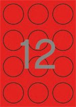 APLI Etikett, 60 mm kör, színes, APLI, neon piros, 240 etikett/csomag
