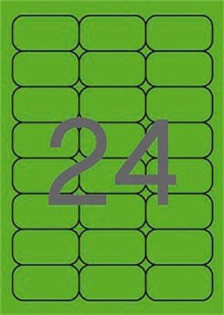 APLI Etikett, 64x33,9 mm, színes, kerekített sarkú, APLI, neon zöld, 480 etikett/csomag