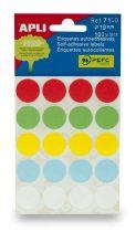 APLI Etikett, 19 mm kör, kézzel írható, színes, APLI, vegyes színek, 100 etikett/csomag