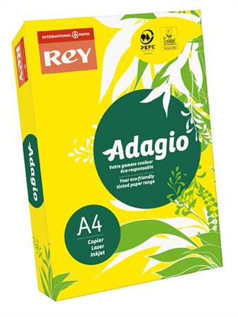 """REY Másolópapír, színes, A4, 80 g, REY """"Adagio"""", intenzív sárga"""