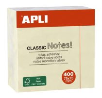 APLI Öntapadó jegyzettömb, 75x75 mm, 400 lap, APLI, sárga