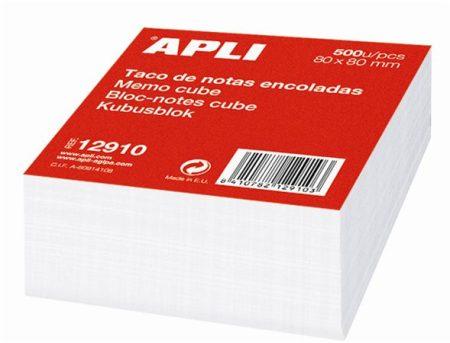 APLI Kockatömb, 80x80 mm, ragasztott, APLI, fehér
