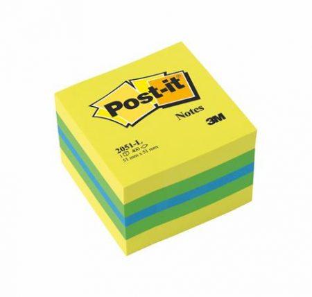 3M POSTIT Öntapadó jegyzettömb, 51x51 mm, 400 lap, 3M POSTIT, lime