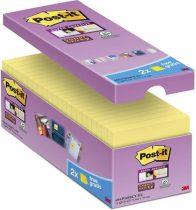 """3M POSTIT Öntapadó jegyzettömb csomag, 76x76 mm, 16x90 lap, 3M POSTIT """"Super Sticky"""", kanárisárga"""