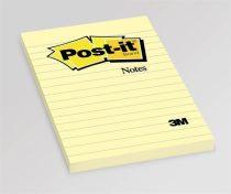 3M POSTIT Öntapadó jegyzettömb, 102x152 mm, 100 lap, vonalas, 3M POSTIT, sárga