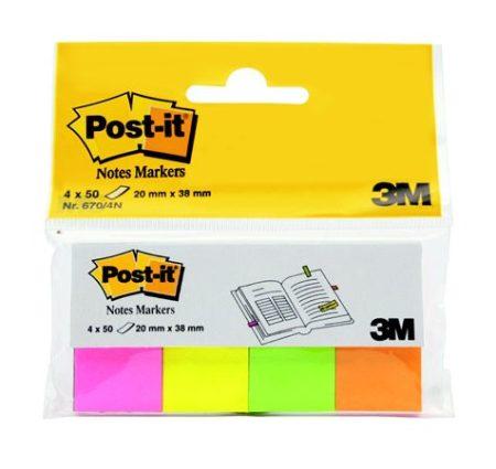 3M POSTIT Jelölőcímke, papír, 4x50 lap, 20x38 mm, 3M POSTIT, neon vegyes