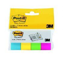 3M POSTIT Jelölőcímke, papír, 4x50 lap, 20x38 mm, 3M POSTIT, ultra vegyes