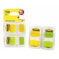 3M POSTIT Jelölőcímke,  műanyag, 2x50 lap, 25x43 mm, 3M POSTIT, sárga és zöld