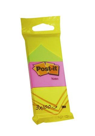 3M POSTIT Öntapadó jegyzettömb, 38x51 mm, 3x100 lap, 3M POSTIT, neon színek