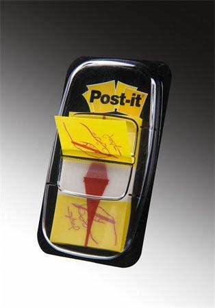 3M POSTIT Jelölőcímke, műanyag, 50 lap, 25x43 mm, 3M POSTIT, ikonos, aláírás