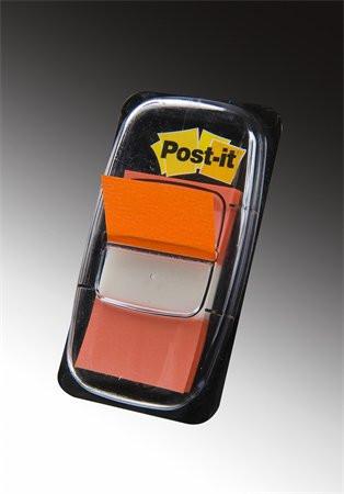 3M POSTIT Jelölőcímke, műanyag, 50 lap, 25x43 mm, 3M POSTIT, narancs