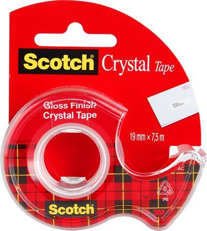 "3M SCOTCH Ragasztószalag, adagolón, kézi, 19 mm x 7,5 m, 3M SCOTCH ""Crystal"""