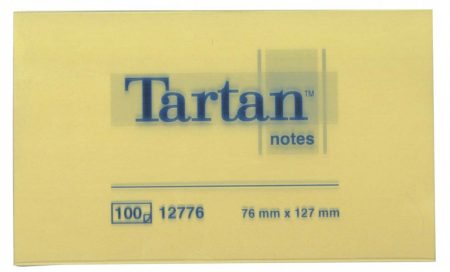TARTAN Öntapadó jegyzettömb, 127x76 mm, 100 lap, 12 tömb/cs, TARTAN, sárga