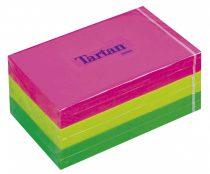 TARTAN Öntapadó jegyzettömb, 127x76 mm, 100 lap, 6 tömb/cs, TARTAN, vegyes neon színek
