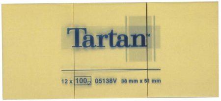 TARTAN Öntapadó jegyzettömb, 38x51 mm, 100 lap, 12 tömb/cs, TARTAN, sárga