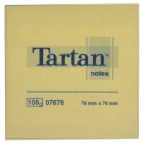 TARTAN Öntapadó jegyzettömb, 76x76 mm, 100 lap, 12 tömb/cs, TARTAN, sárga