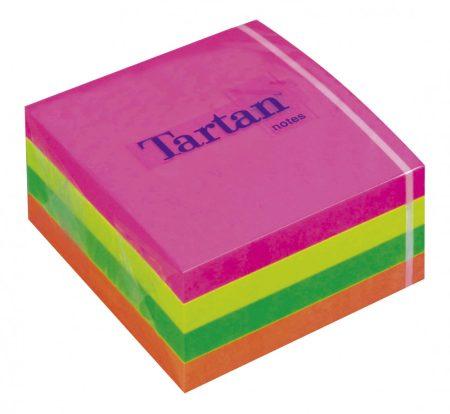 TARTAN Öntapadó jegyzettömb, 76x76 mm, 400 lap, TARTAN, vegyes neon színek