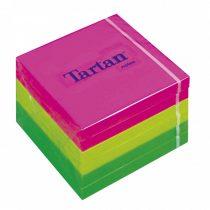 TARTAN Öntapadó jegyzettömb, 76x76 mm, 100 lap, 6 tömb/cs, TARTAN, vegyes neon színek