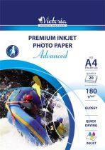 """VICTORIA Fotópapír, tintasugaras, A4, 180 g, fényes, VICTORIA """"Advanced"""""""