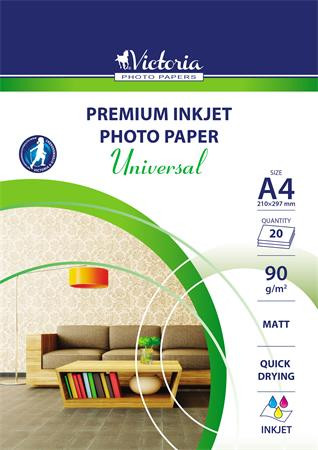 "VICTORIA Fotópapír, tintasugaras, A4, 90 g, matt, VICTORIA ""Universal"""