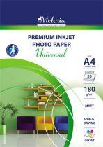 "VICTORIA Fotópapír, tintasugaras, A4, 180 g, matt, VICTORIA ""Universal"""