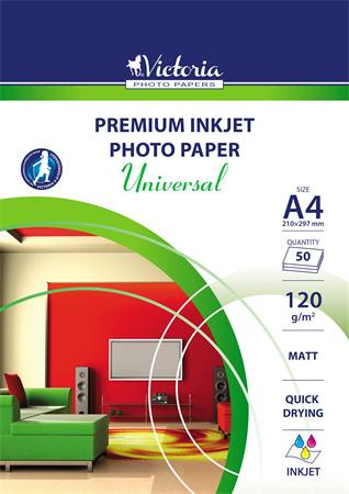 "VICTORIA Fotópapír, tintasugaras, A4, 120 g, matt, VICTORIA ""Universal"""