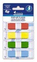 VICTORIA Jelölőcímke, műanyag, 4x36 lap, 43x12,5 mm, VICTORIA, vegyes szín