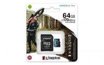 "KINGSTON Memóriakártya, microSDXC, 64GB, C10/UHS-I/U3/V30/A2, adapter, KINGSTON ""Canvas Go! Plus"""