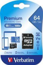 "VERBATIM Memóriakártya, microSDXC, 64GB, CL10/U1, 90/10 MB/s, adapter, VERBATIM, ""Premium"""