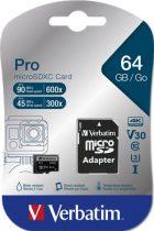 "VERBATIM Memóriakártya, microSDXC, 64GB, CL10/U3, 90/45 MB/s, adapter, VERBATIM ""PRO"""