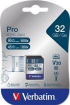 "VERBATIM Memóriakártya, SDHC, 32GB, CL10/U3, 90/45MB/sec, VERBATIM ""PRO"""