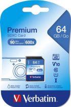 "VERBATIM Memóriakártya, SDXC, 64GB, CL10/U1, 90/10 MB/s, VERBATIM, ""Premium"""