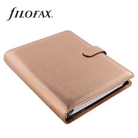 """FILOFAX Kalendárium, gyűrűs, betétlapokkal, A5 méret, FILOFAX, """"Saffiano Metallic"""", rózsaarany"""