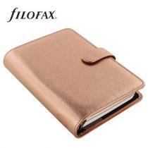 """FILOFAX Kalendárium, gyűrűs, betétlapokkal, personal méret, FILOFAX, """"Saffiano Metallic"""", rózsaarany"""