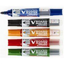 """PILOT Táblamarker készlet, 2,3 mm, kúpos, tartóval és szivaccsal, PILOT """"V-Board Master"""", 5 különböző szín"""