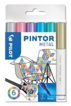 """PILOT Dekormarker készlet, 1 mm, PILOT """"Pintor F"""" 6 különböző metál szín"""