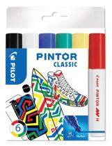 """PILOT Dekormarker készlet, 1,4 mm, PILOT """"Pintor M"""" 6 különböző klasszikus szín"""