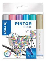 """PILOT Dekormarker készlet, 1,4 mm, PILOT """"Pintor M"""" 6 különböző metál szín"""