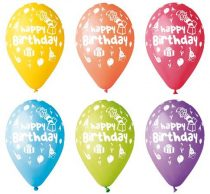 Léggömb, 30 cm, Boldog Születésnapot, bohócos