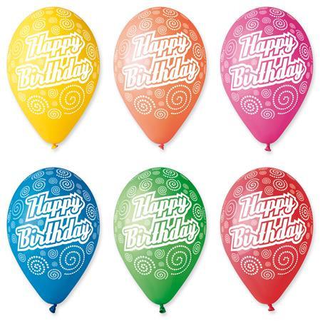 Léggömb, 30 cm, Boldog Születésnapot, körkörös