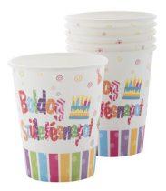 """Pohár, papír, 2,5 dl, """"Boldog születésnapot"""""""